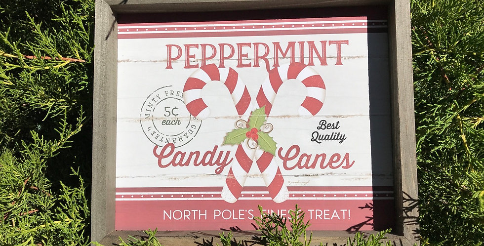 Candy Cane Wood Box Sign