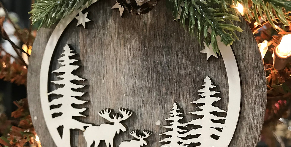 Round Wooden Moose Scene Ornament