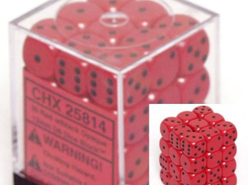 Opaque 12mm d6 with pips Dice Blocks (36 Dice) - Rouge / Noir