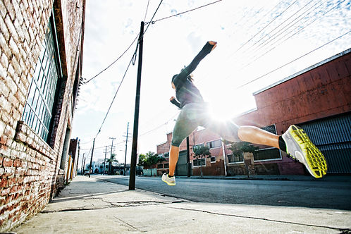 running and leaping