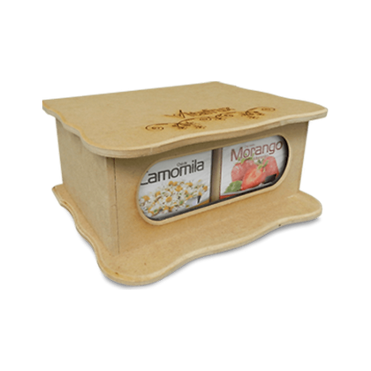 Caixa de Chá de Mdf - 4 sabores