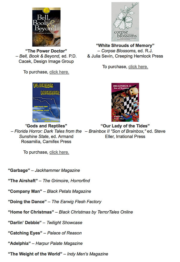 Published short stories by Florida crime and horror author Ward Parker