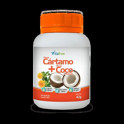 Óleo de cártamo e óleo de coco em cápsulas
