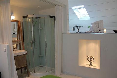Création d'un espace douche lavabo par  Christphe Roué Concepton Réalisation