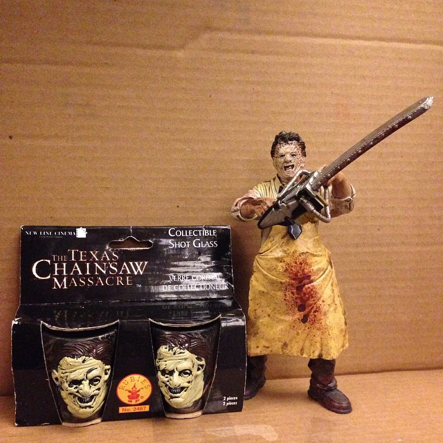 The Texas Chainsaw Massacre Shot Glasses $20 Figure $15 #horror#scroozetoys#texaschainsawmassacre#ha