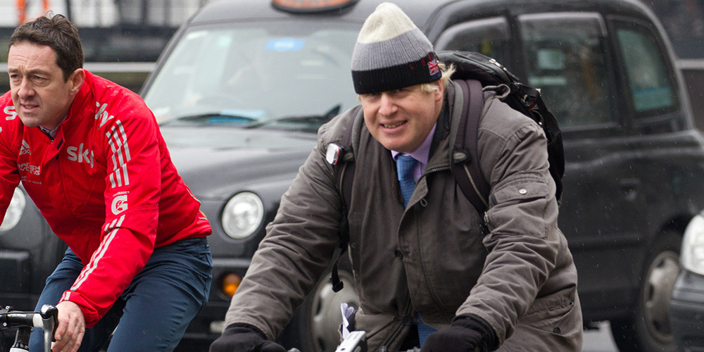 Boris Johnson riding his bike in London in 2013