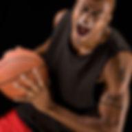 Jogador de basquetebol na ação