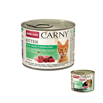 Animonda Carny 牛,雞+兔 幼貓主食罐 200g #N02