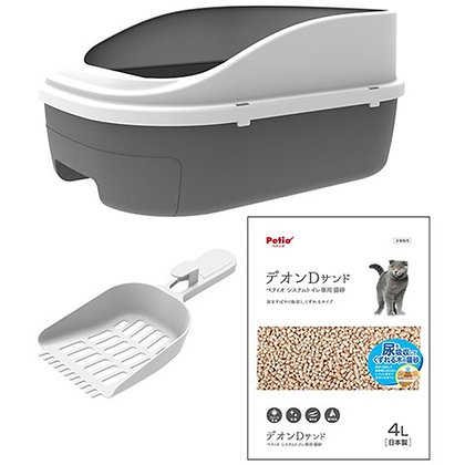Petio雙層貓砂盆+ 抗菌消臭木砂+貓砂鏟套裝(半封閉型)#F141(W26220)
