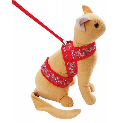 Petio田園風貓用柔軟胸帶牽引繩(紅色) M #J53 (W55272)