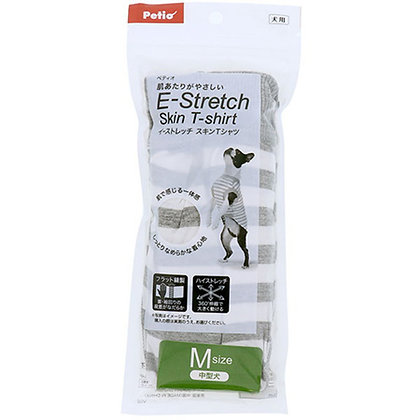 Petio E-Stretch 狗狗彈性透氣 間條衫 淺灰色M (可長時間穿著) #F148 (W26192)