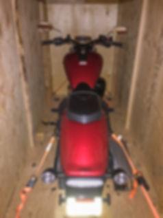 Motorcycle storage at Coastal Van Lines
