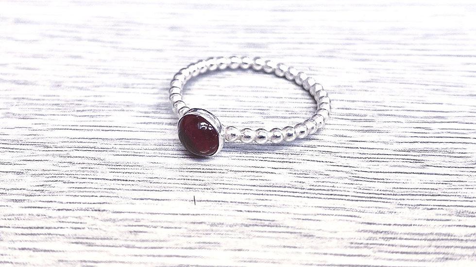 Garnet Silver Beaded Ring