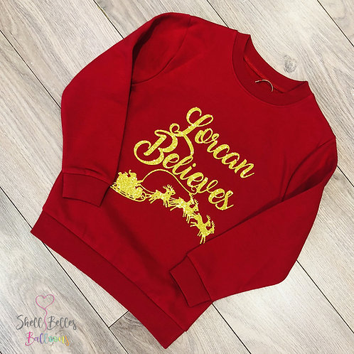 Personalised 'I Believe' Christmas Jumper