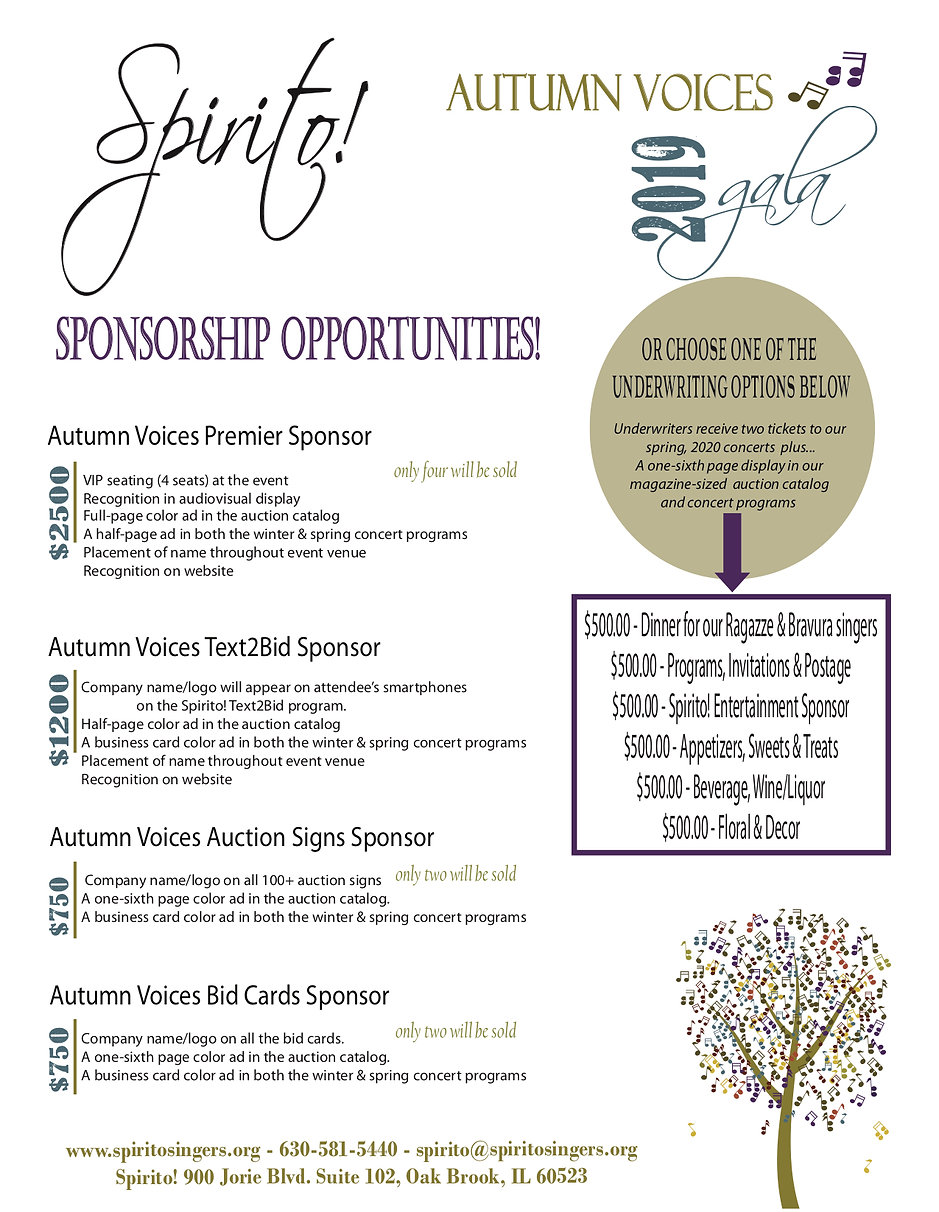 2019 Autumn Voices sponsorship levels an