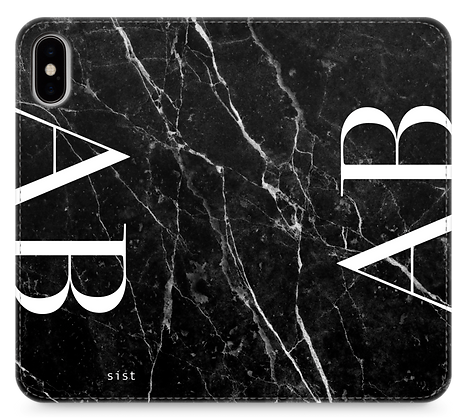 Black GEM Stone Custom iphone Case - fake Leather Note type-