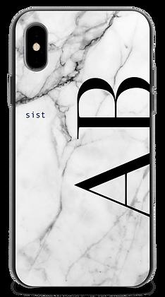 White GEM Stone Custom iphone Case -Leater Straight-