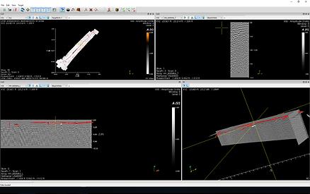 Imagine din programul de procesare a rezultatelor obținute în teren cu ajutorul echipamentului georadar