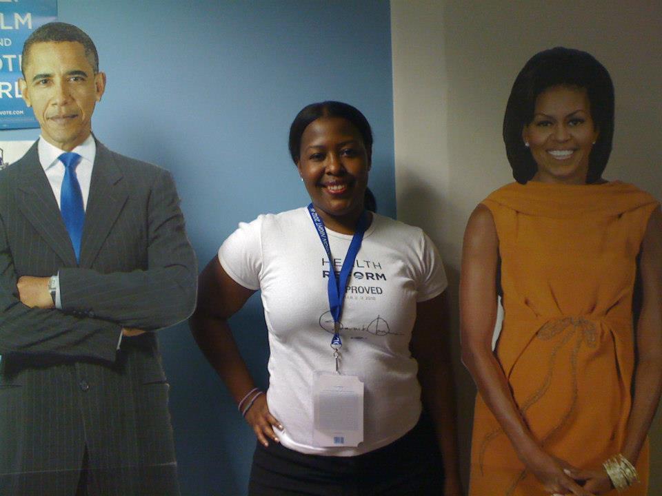 Ch 18 - Karla with the Obamas Cardboard