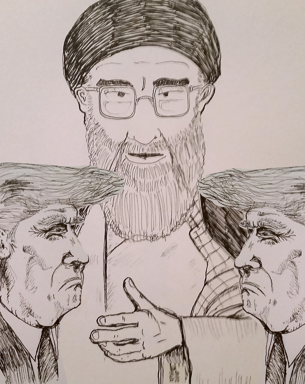 Pen and ink digital composite A4 Hand drawn Political cartoon