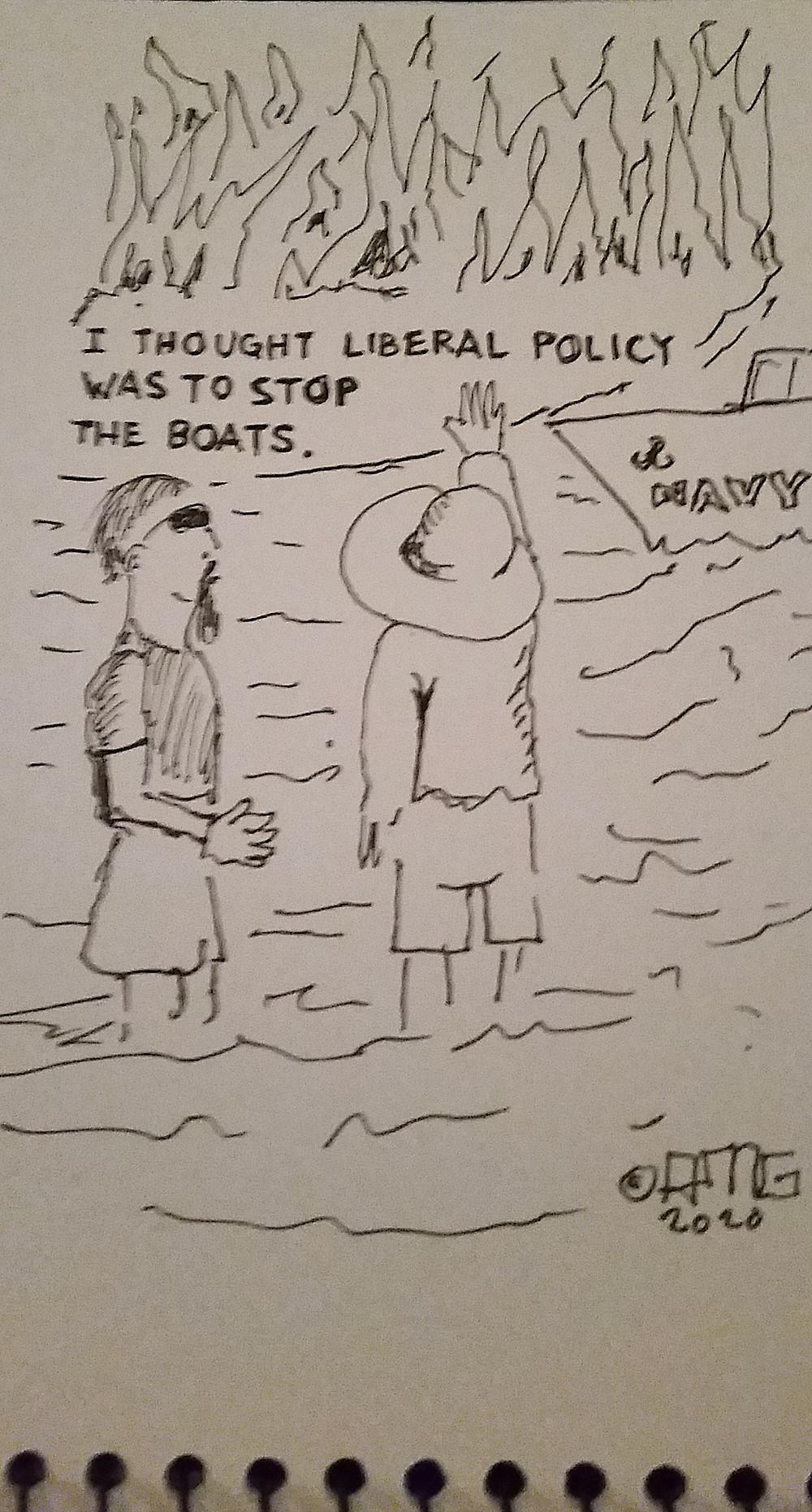 Cartoon By AM Graetz Copyright 2020 Saxxon Creative Pen and Ink