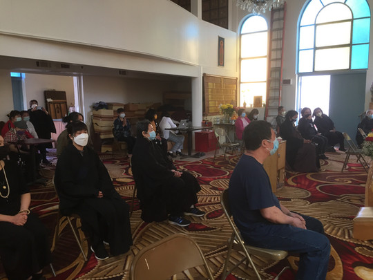Devotees Listened to the Dhamma Talk by