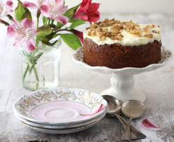 Carrot cake, cake stand and vintage plates