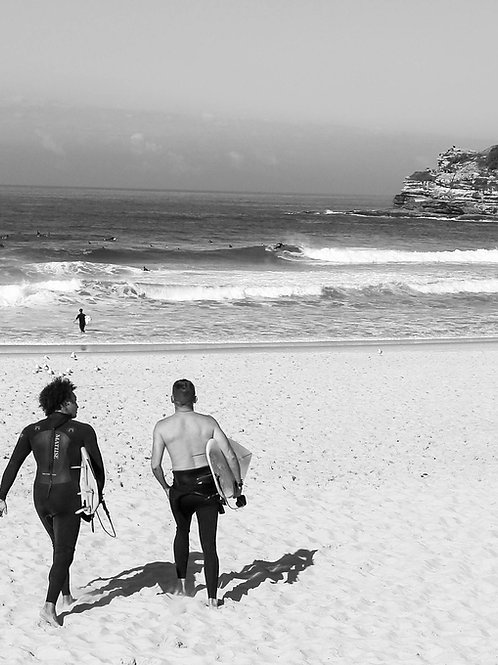 Surfing in Bondi Beach