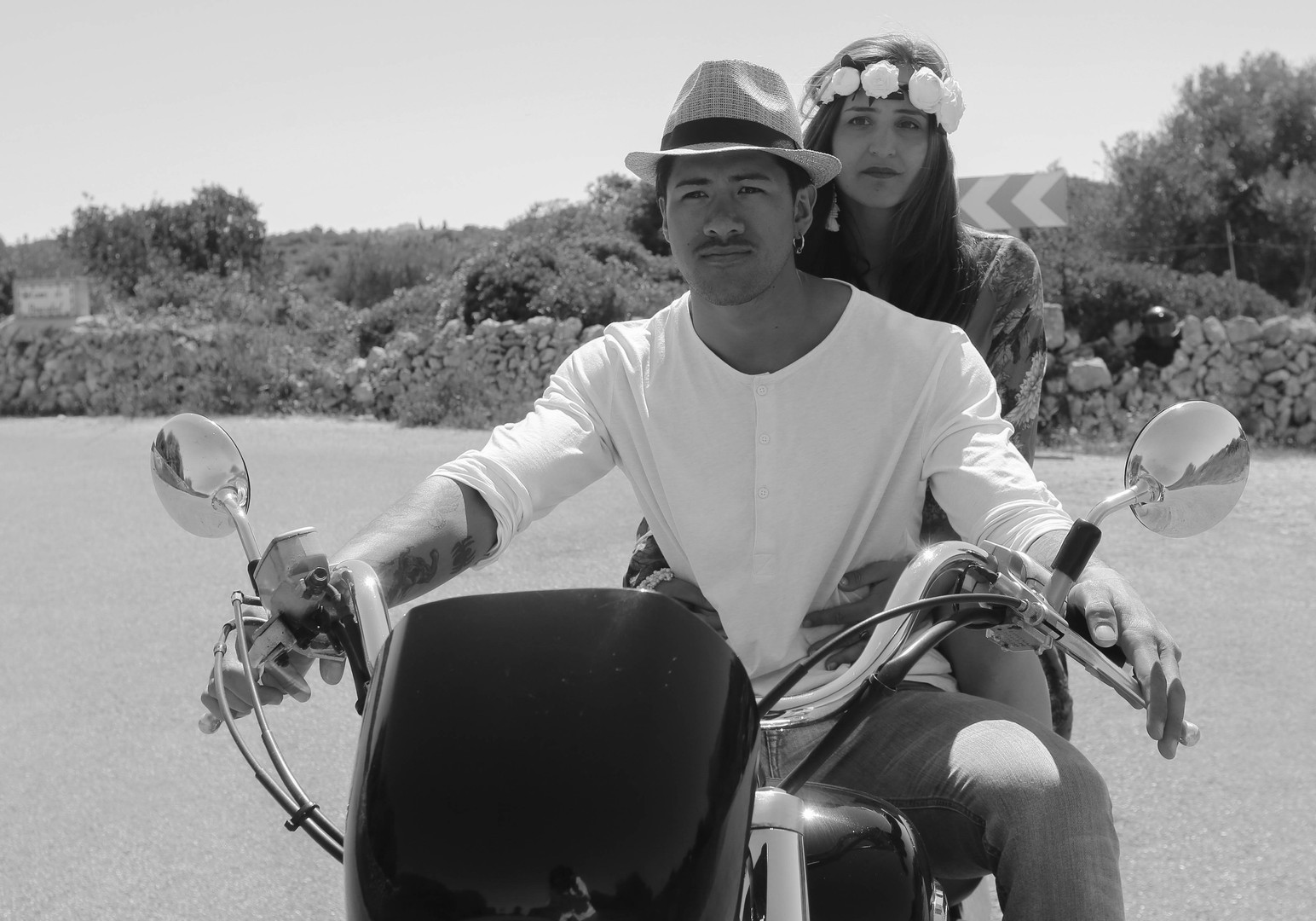 Boho Couple on mororbike Black and white