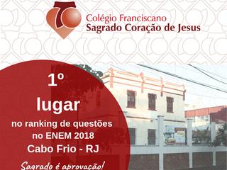 1º Lugar no ranking de questões do ENEM 2018 em Cabo Frio