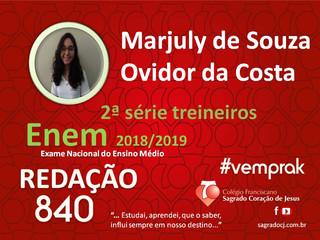 """TREINEIROS ENEM 2018-2019                         """"MARJULY DE S. OVIDOR DA COSTA"""""""