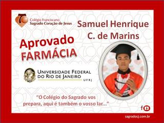 """APROVADO EM FARMÁCIA UFRJ """"SAMUEL HENRIQUE C. DE MARINS"""""""