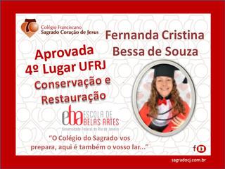 """APROVADA EM 4º LUGAR CONSERVAÇÃO E RESTAURAÇÃO UFRJ """"FERNANDA CRISTINA B.  DE SOUZA"""""""