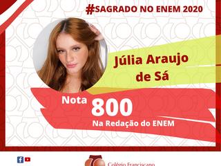 JÚLIA ARAUJO DE SÁ Nota 800 na Redação do ENEM/2020