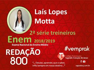 """TREINEIROS ENEM 2018-2019                         """"LAÍS LOPES MOTTA"""""""