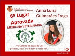 """APROVADA EM 6º LUGAR EM MEDICINA VETERINÁRIA UENF """"ANNA LUIZA G. FRAGA"""""""