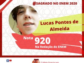 LUCAS PONTES DE ALMEIDA Nota 920 na Redação do ENEM/2020