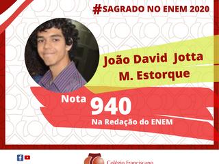 JOÃO DAVID JOTTA MENDONÇA ESTORQUE Nota 940 na Redação do ENEM/2020