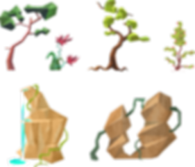 concept art props arbre tree nature romane boverot low poly