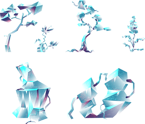 concept art props arbre tree nature romane boverot low poly ice glace