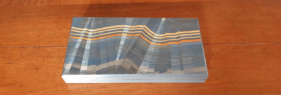 Coffret rectangulaire multicolore en marqueterie de paille