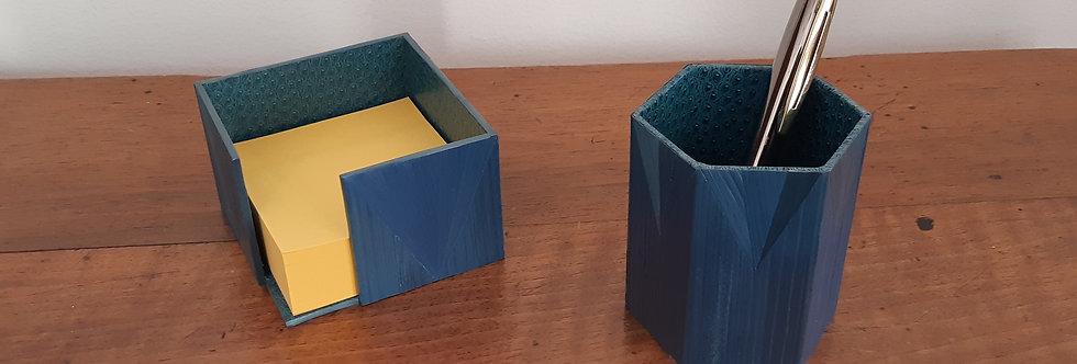 Duo Range post-it et pot à crayons en marqueterie de paille