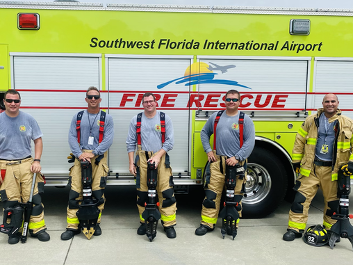 Lee County Port Authority ARFF Firefighters equipped with Genesis tools