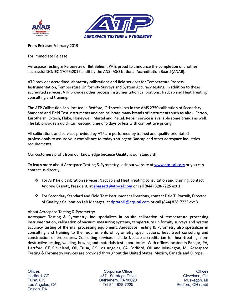 Press Release-ISO 17025 Laboratory Febru