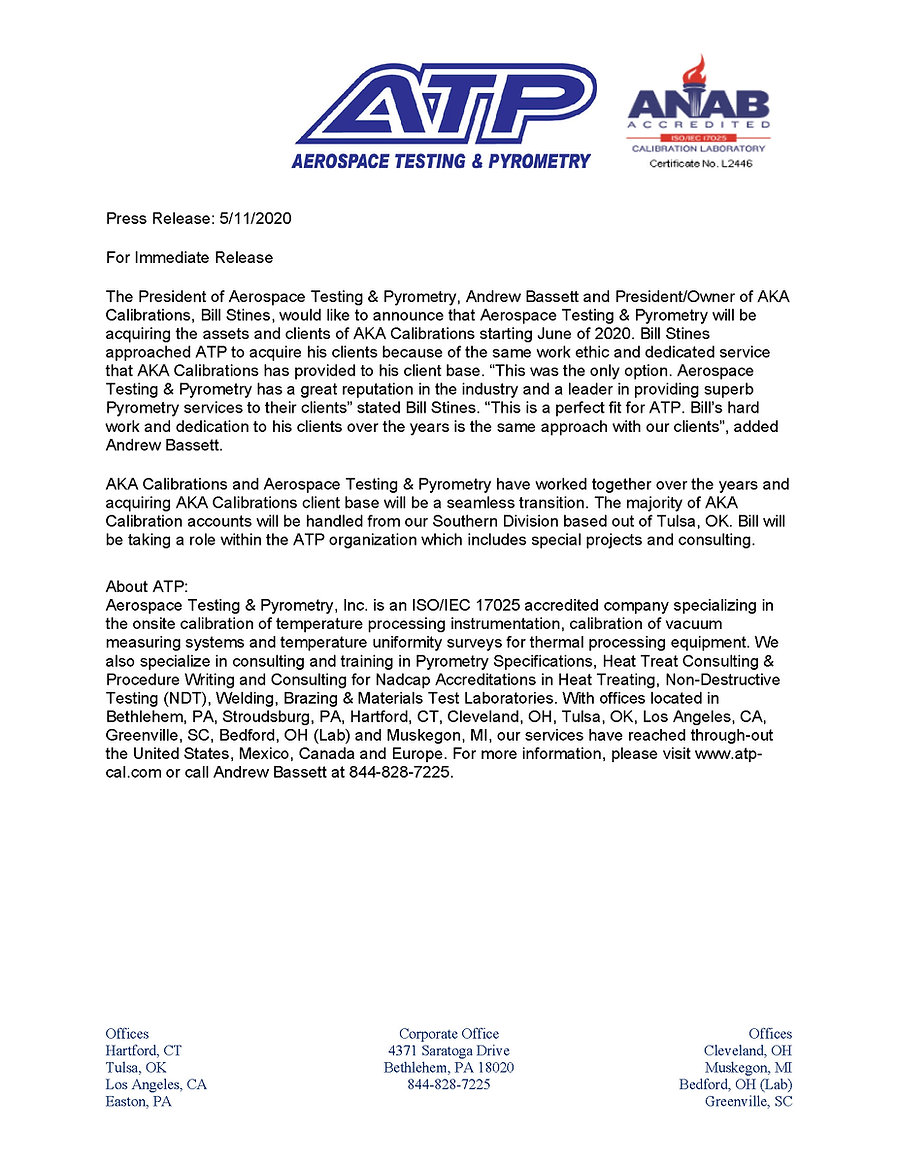 Press Release-AKA Calibrations March 202