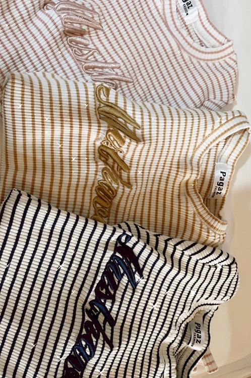 חולצה פסים רקמה - one size