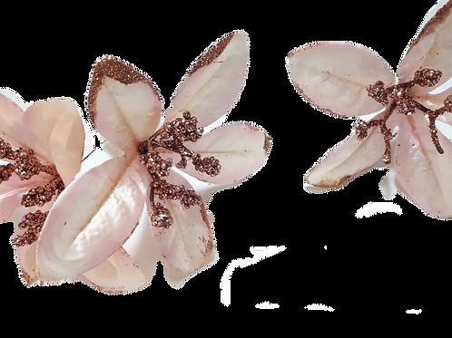 סיכה פרח פנינה וורוד ברונזה