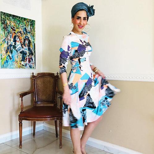 שמלה טקסטורה פסטל גוונים שחור