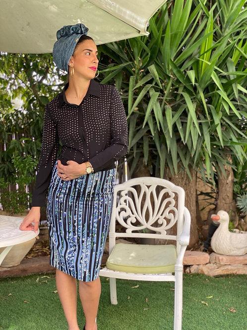 חצאית טקסטורה שחור כחול