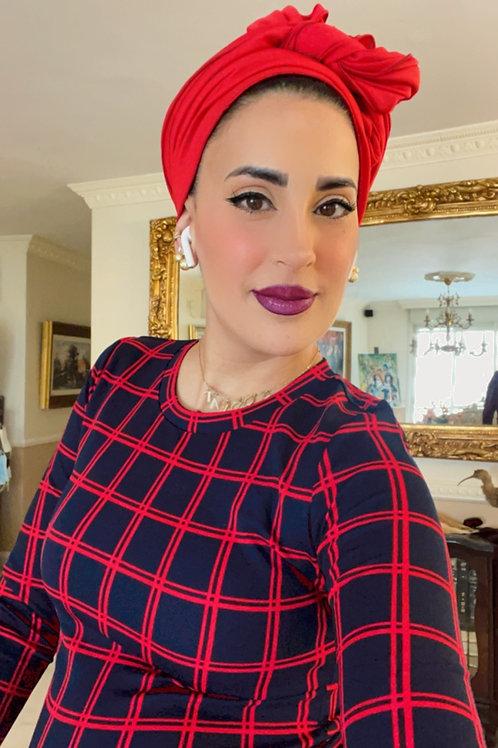 סט שמלה וכיסוי כחול אדום